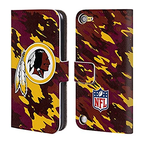 Official NFL Camou Washington Redskins Logo Leather Book Wallet Case Cover For iPod Touch 5th Gen / 6th - Ipod Redskin