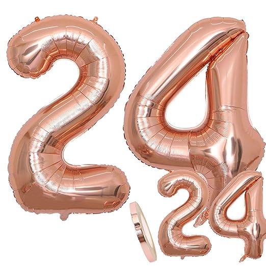 Globos Número 24 Cumpleaños XXL de oro rosa - Helio Globo de lámina gigante en 2 tamaños 40