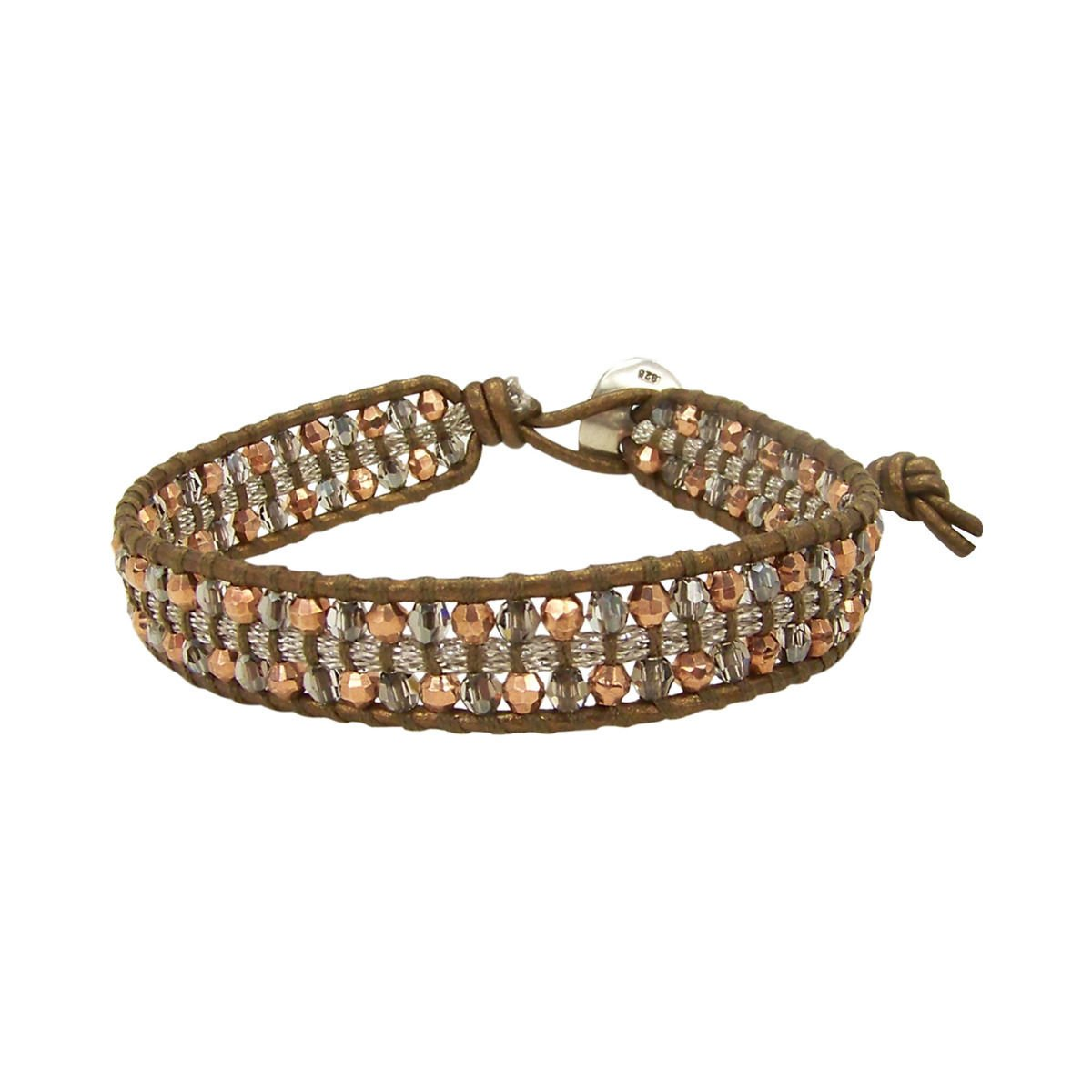 Chan Luu Rose Gold Mix & Gray Swarovski Crystals Single Wrap Bracelet