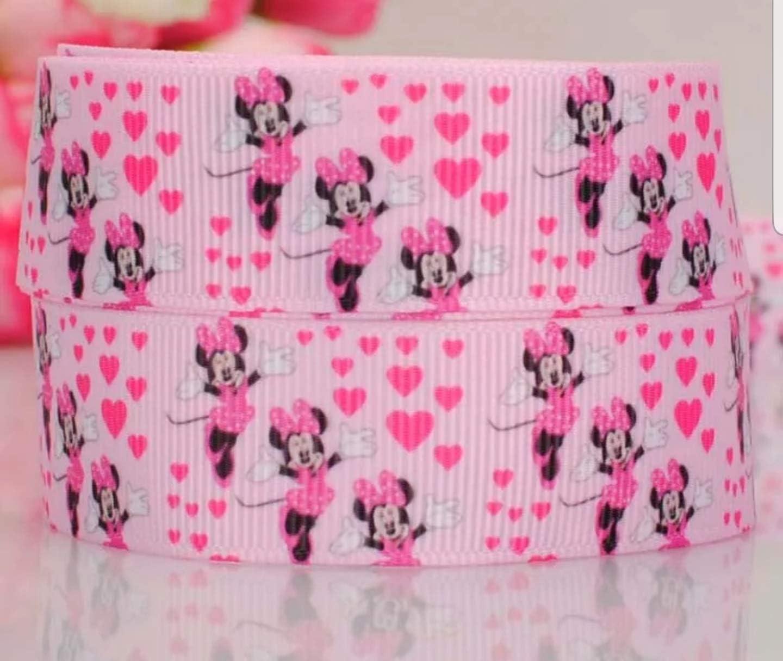 Bright Minnie Mouse 2,5 cm pouce//25 mm x 1 m Ruban Imprim/é Cartoon Sucette G/âteaux cheveux cadeau ornements et les travaux manuels vendu par la cour
