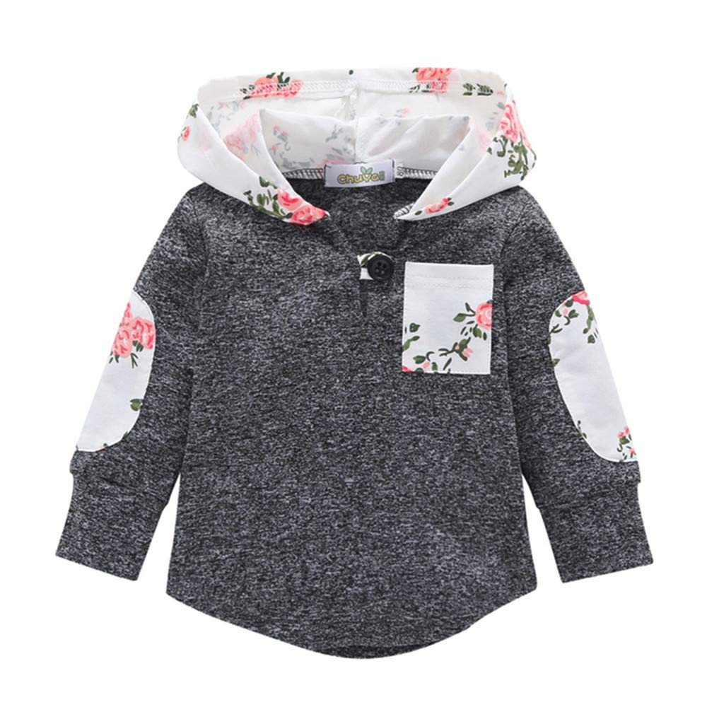 LHWY Toddler Infant Baby Floral Hoodie Pocket Sweatshirt Pullover Tops Warm Clothes Autumn Jumper Shirt New