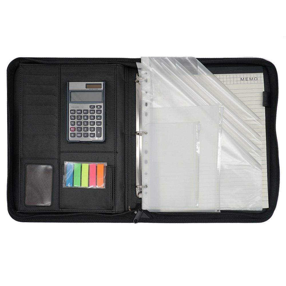 Mcbazel Portfolio Organizer 3 Ring Leather Zipper, Folder Binder Executive with 12-bit Solar Calculator/A4 Notepad/Penholder/Card Pockets/Colored Sticky Notes/Transparent Pockets/Zipper Bag-Black