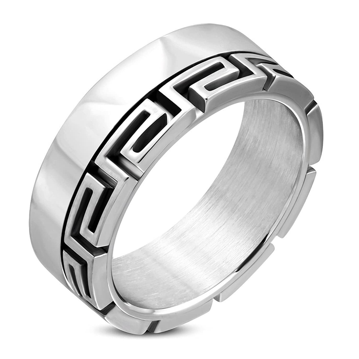 Stainless Steel Cut-out Greek Key Band Ring