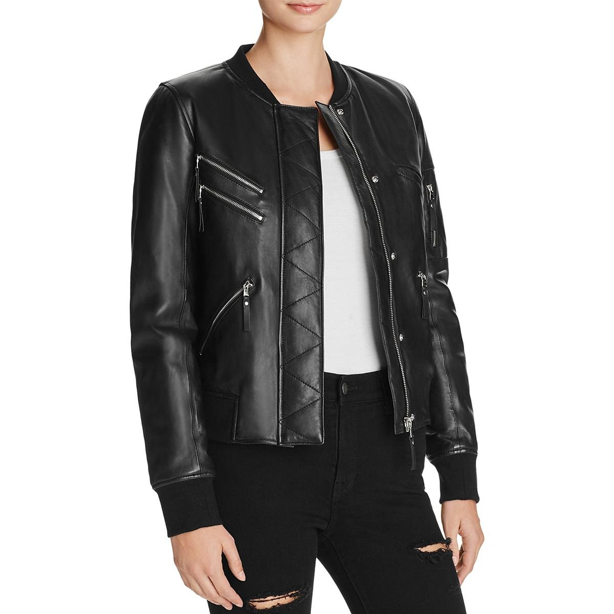 Generation Love Womens Gigi Lambskin Leather Ribbed Trim Leather Coat Black L