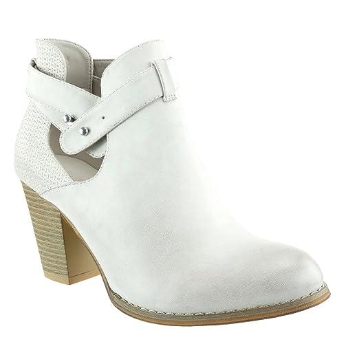 Angkorly - Zapatillas Moda Botines Cavalier Bimaterial Mujer Zapato Acolchado Nodo Camuflaje Talón Tacón Ancho Alto 8 CM: Amazon.es: Zapatos y complementos