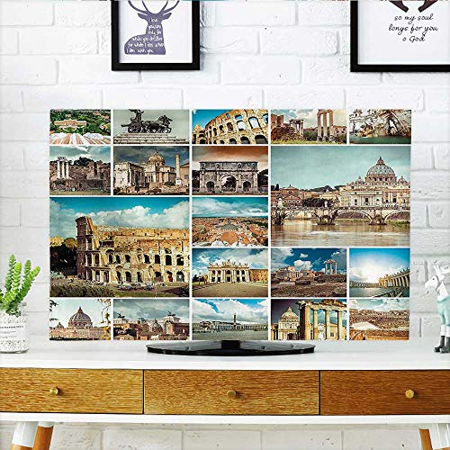 Auraisehome Cover for Wall Mount tv Town Collage with Classic Heritage Monumental Details Coliseum Mediterranean Cityscape Multi Cover Mount tv W36 x H60 INCH/TV -
