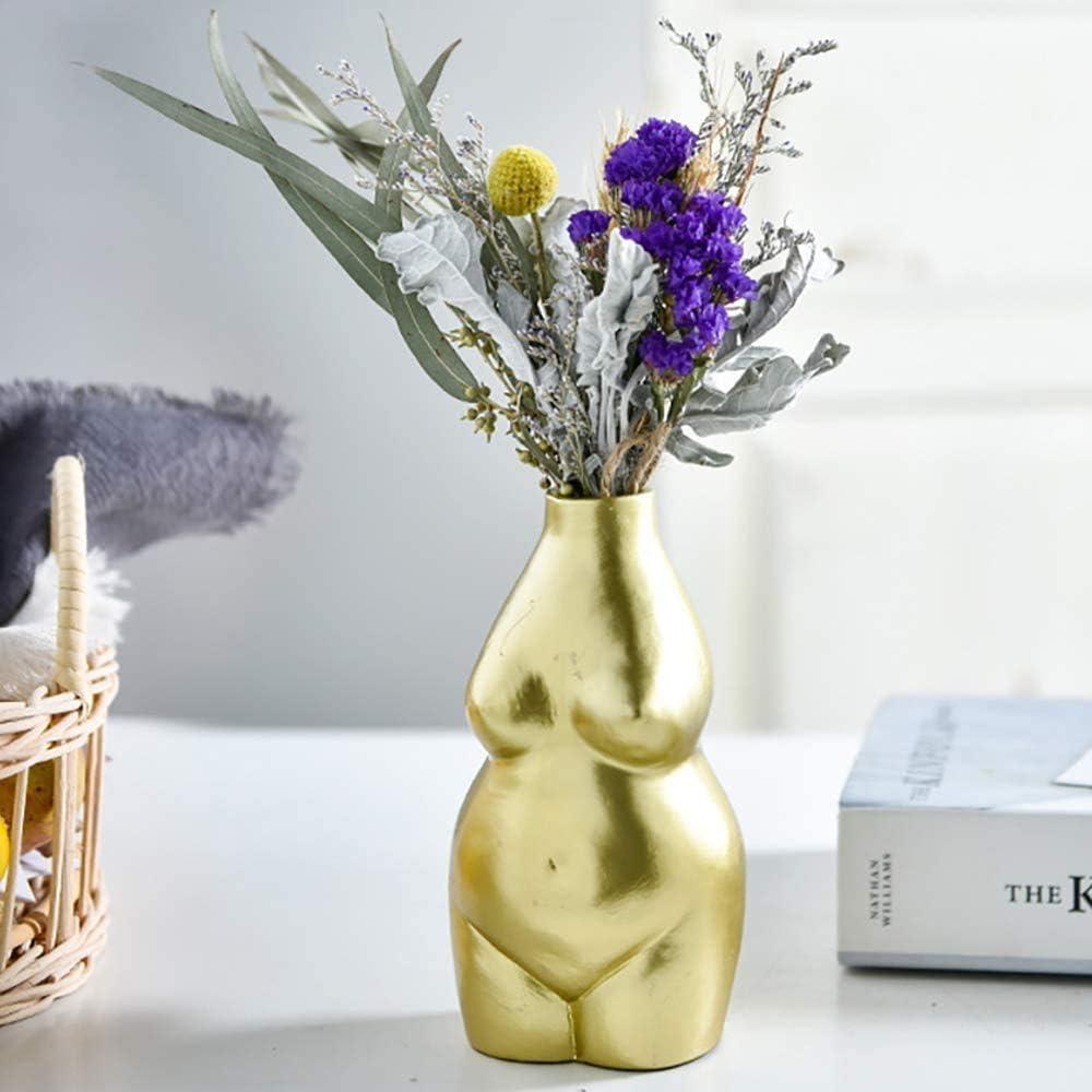 Amazon Com Amitd 6 2 Small Ceramic Flower Vases Decorative Boho Home Decor Female Body Form Art Vase Gold Body Vase Home Kitchen