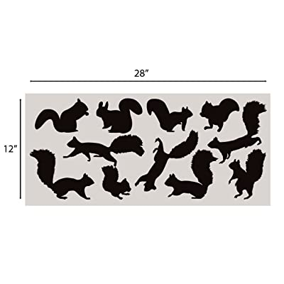 Innovative Stencils Squirrel Wall Decal Nursery Sticker Set Add to Tree Wall Decals Decor for Kids Rooms #1250 (12 Squirrel Decals Included) (Matte Black): Home & Kitchen [5Bkhe0405950]