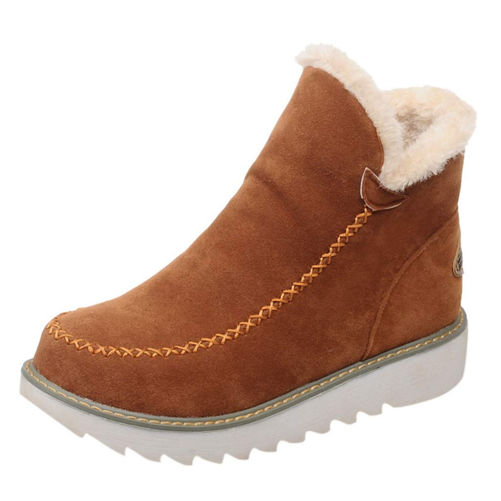 HAALIFE◕‿Women Fur Boots Winter Super Soft Bootie Slippers Fluffy Plush Indoor Outdoor Warm Booty Slippers Brown by HAALIFE Shoes
