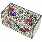 JMcore Mother of Pearl Arabesque & Peony Flower Design Jewelry Box Nacre Jewellry Case