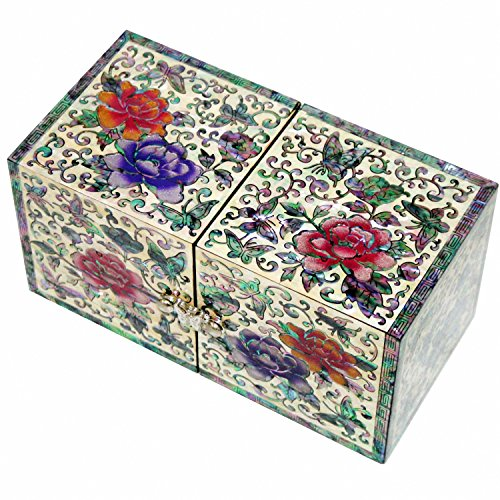 JMcore Mother of Pearl Arabesque & Peony Flower Design Jewelry Box Nacre Jewellry Case by JMcore High Quality Jewelry Box