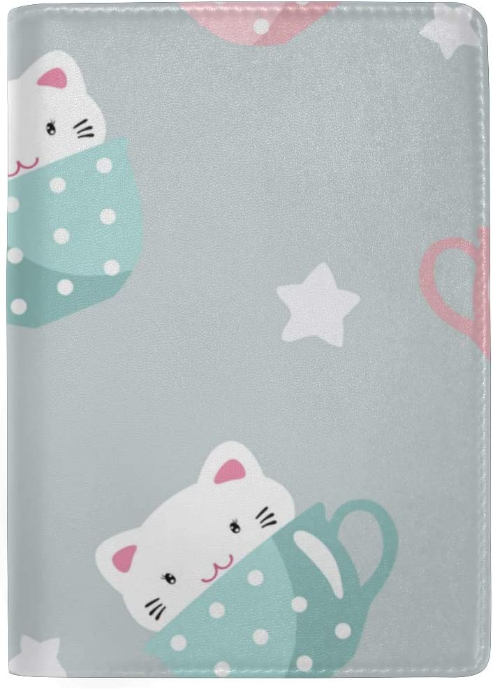 Cute Kitten In Large Cup Hand Drawn Blocking Print Passport Holder Cover Case Travel Luggage Passport Wallet Card Holder Made With Leather For Men Women Kids Family