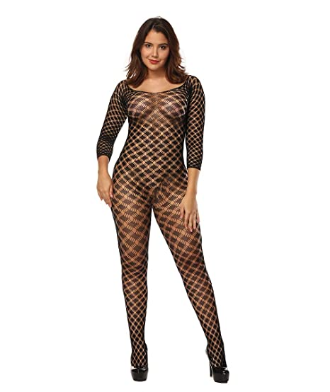 04fe6b3c3 Amazon.com  Curbigals Sexy Women Lingerie Plus Size Crotchless Bodystocking  with Long Sleeves (Black 2
