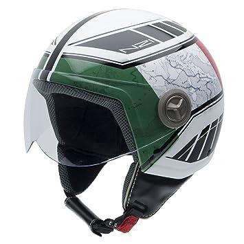 NZI 050004G622 Zeta Forza Casco de Moto, Detalle Bandera Italiana, Talla XS