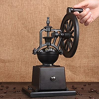 WAYERTY Manual Coffee Grinder, Wood Cast Iron Wheel Ultra-saving Retro Coffee Bean Grinder Household Coffee Mill Grinder