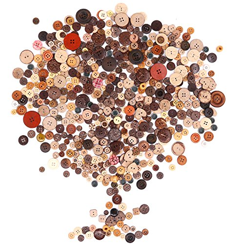 Rustark 650Pcs Resin Buttons Favorite Findings Basic Buttons 2 And 4 Holes Craft Buttons For Arts  Diy Crafts  Decoration  Sewing   Sizes Range From 0 28 To 1 18 Inch  Coconut Shell