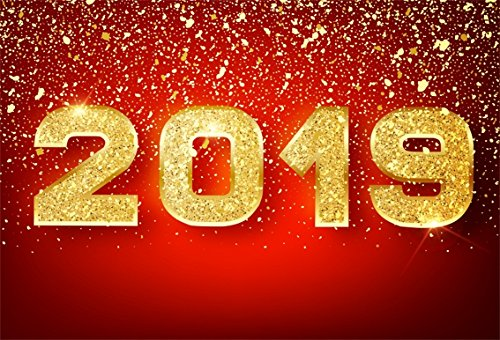 CSFOTO 5x3ft Background for Gold 2019 Happy New Year Red Photography Backdrop Glistering Shiny Words Confetti Celebration Sparkle New Year Party Celebration Photo Studio Props Polyester Wallpaper