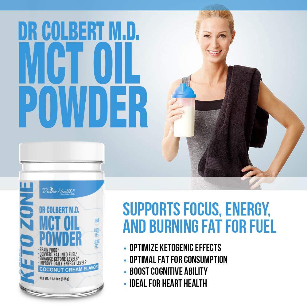 Divine Health Keto Zone MCT Oil Powder, Coconut Flavor, 300 g