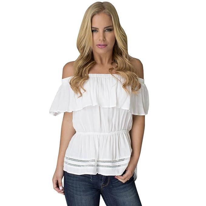 Winwintom Las mujeres blancas OFF - hombro con volantes blusa suelta Camisa Casual Tops T Shirt