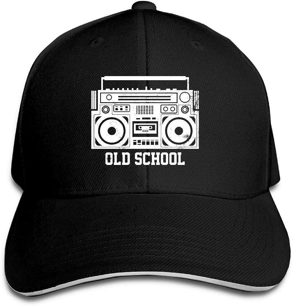 JustQbob1 Old School Boombox Outdoor Snapback Sandwich Cap Adjustable Baseball Hat Plain Cap