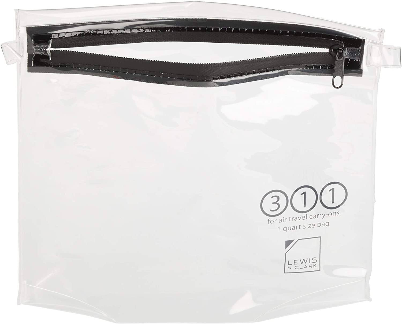 Lewis N. Clark TSA Approved Toiletry Bag: Women's + Men's Toiletry Bag, Luggage Bag + Travel Organizer Toiletries Bag, Clear, 1qt Pouch