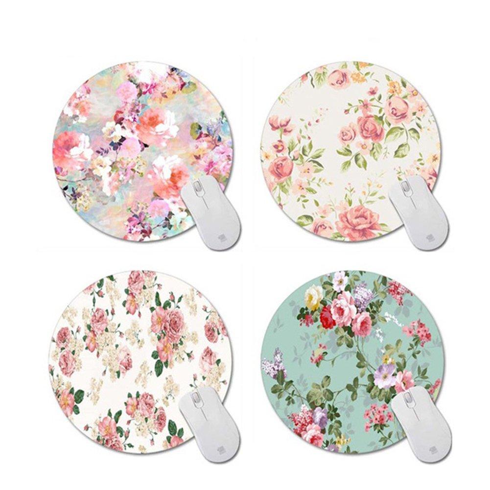 Ocamo 20CM Elegant Rose Flower Mouse Pad Round Anti-slip Mouse Pad Pattern 1 round 20X20CM