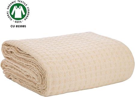 Manta de gofres de algodón para cama - Manta de gofres de algodón orgánico - Manta de algodón