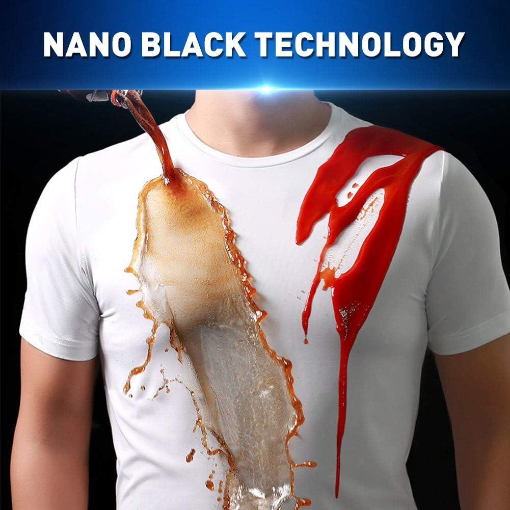KEKEDA Camiseta de Manga Corta para Hombres Nano Waterproof y Anti-Dirty Camiseta de Manga Corta con Cuello Redondo y antifouling de Secado r/ápido