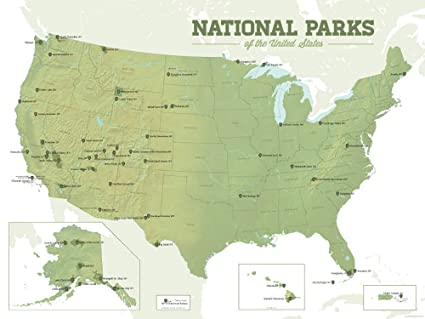 Best Maps Ever US National Parks Map 18x24 Poster (Army Green & White)