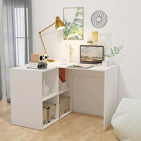 Scrivania con libreria 117 x 92 x 75,5 cm Bianco. scrivania bianca ...
