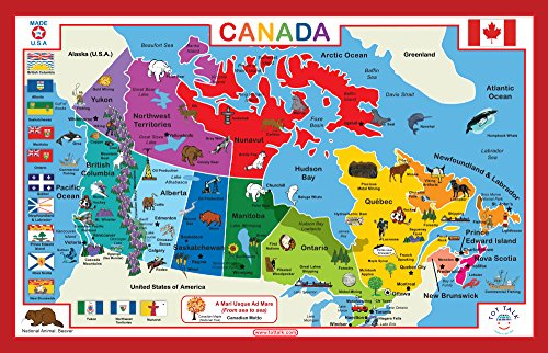 Tot Talk Canada Educational Placemat for Kids, Washable and - Map Canadian