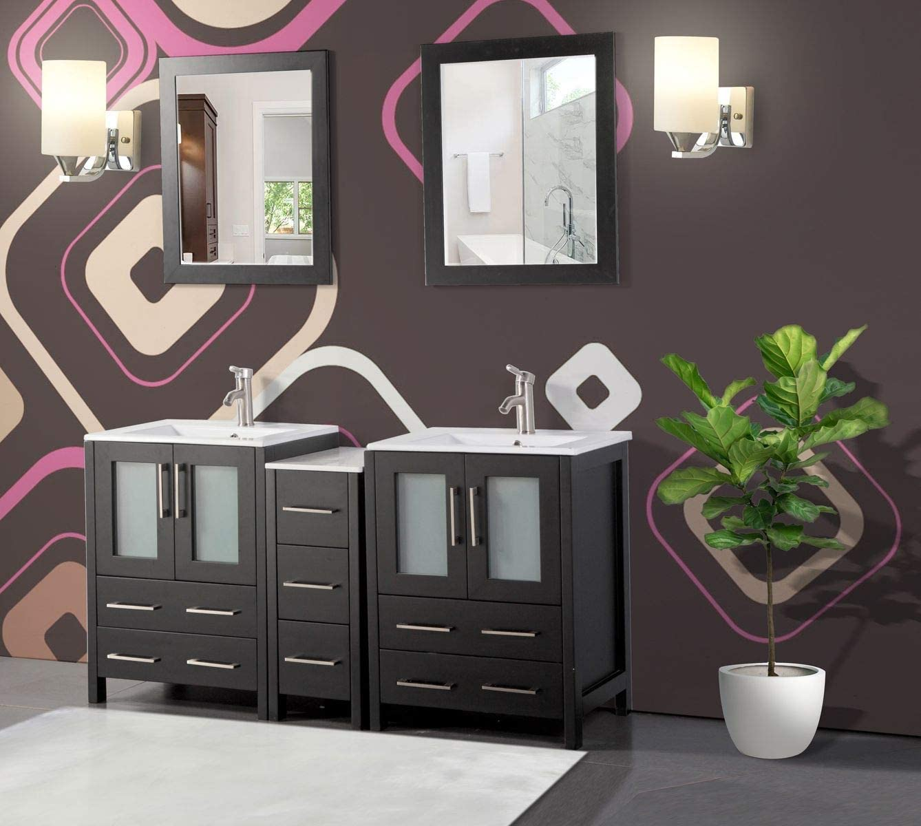 Vanity Art 60 Inch Double Sink Bathroom Vanity Combo Set 1 Side Cabinets 2 Shelves Ceramic Top Bathroom Cabinet With Two Free Mirror Espresso Va3024 60 E Amazon Co Uk Kitchen Home