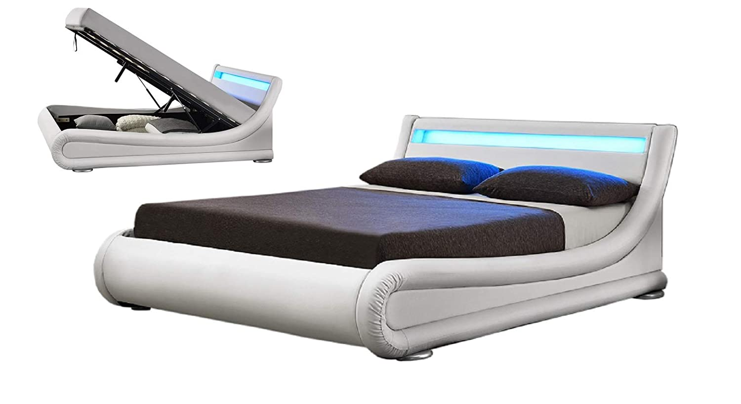 Phenomenal Limitless Home New Rio Ottoman Led Designer Curved Storage Bed Frame 4Ft6 Double 5 Ft King Size In White 5Ft King Pabps2019 Chair Design Images Pabps2019Com