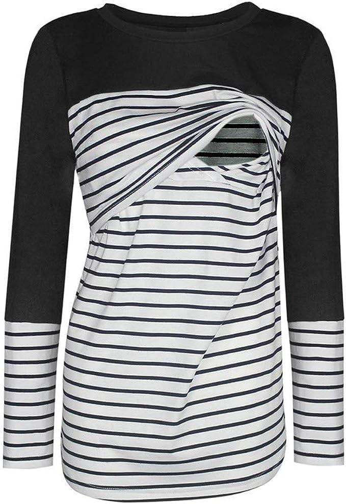 STRIR Camiseta de Lactancia Fuera del Hombro Manga Larga Premam/á para Mujer Embarazo T-Shirt Blusa