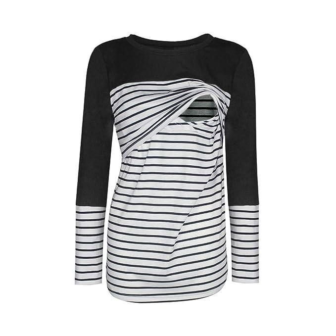 BaZhaHei Camiseta De Mujeres Ropa para La Lactancia De Maternidad De Raya para Mujeres Las Mujeres