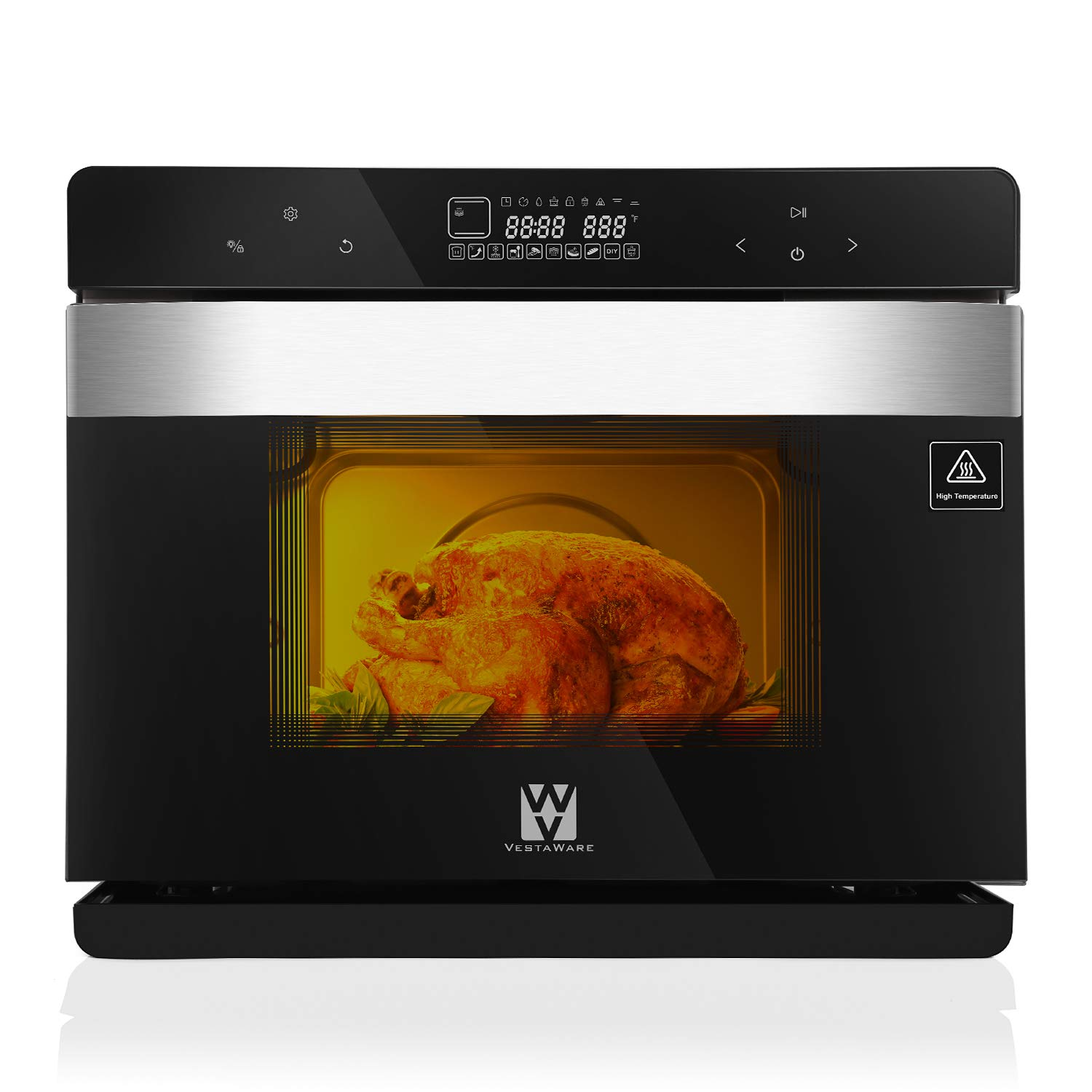 Vestaware Convection Steam Oven, 32Qt LED Display Toaster Oven Countertop Wall Smart Oven with 5 Predefined Programs/4 Menus with 32 Predefined Recipes/DIY modes Includes Baking Pan Grill Rack Mitts by Vestaware