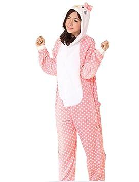 Cálido franela animal de Onesie pijama adulto Unisex una pieza pijama rosa Hello Kitty, azul