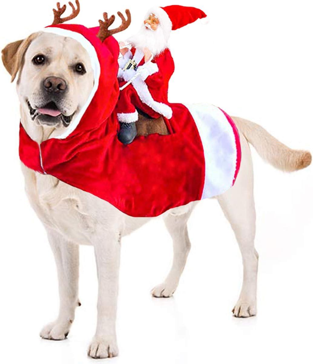 Kyerivs Dog Christmas Costume Dog Santa Claus Costume Dog Cat Christmas  Holiday Outfit Pet Christmas Clothes Running Santa Claus Riding on Pet for