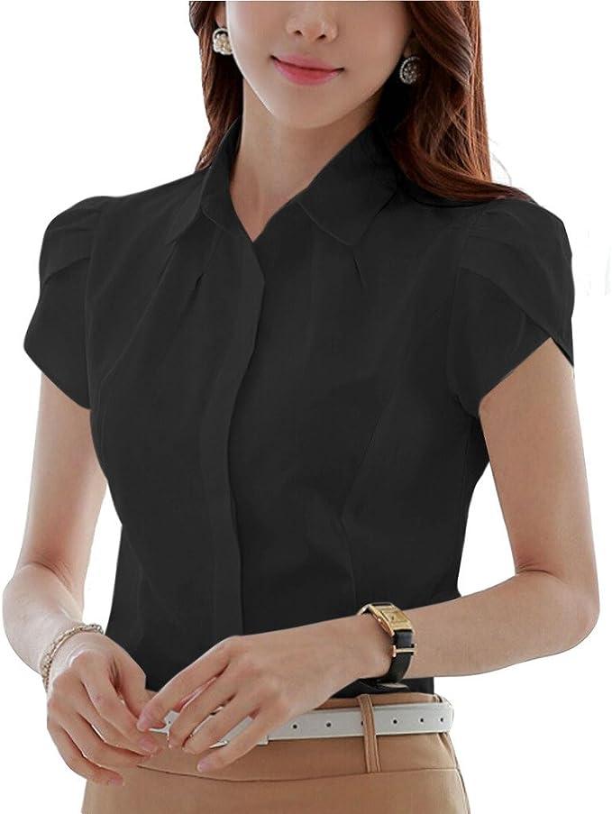 Camisa plisada de algodón de Putao World para mujer, manga corta, botones ocultos Negro negro XXX-Large