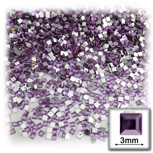 The Crafts Outlet 1440-Piece Square Rhinestones, 3mm, Lavender/Light Amethyst
