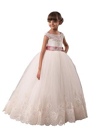 Flowerry Girls Full Princess Flower Girl Dresses Wedding Party Juniors Dresses14T Ivory