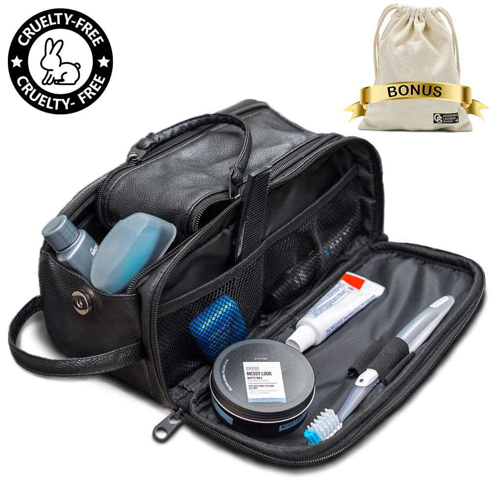 Toiletry Bag for Men or Women - Dopp Kit For Travel. Cruelty Free Toiletries Organizer PU Leather Bags by QS.USA
