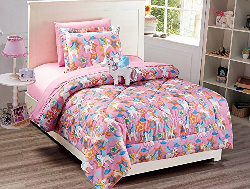 Fancy Collection 6pc Twin Size Bedspread Set Unicorn Pink Purple Blue Orange White With Furry