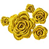 5 Large Crepe Paper Flowers,Handcrafted Flowers,Nursery Wall,Metallic Gold Rose Flower,for Wedding Backdrop, Gold Bachelorette,Baby Shower,Photo Backdrop,Gatsby Nursery,Archway Decor