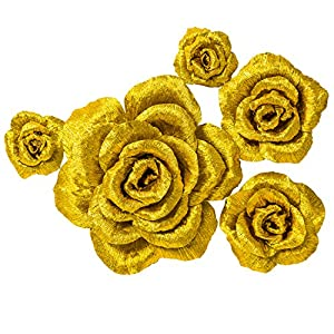 5 Large Crepe Paper Flowers,Handcrafted Flowers,Nursery Wall,Metallic Gold Rose Flower,for Wedding Backdrop, Gold Bachelorette,Baby Shower,Photo Backdrop,Gatsby Nursery,Archway Decor 108