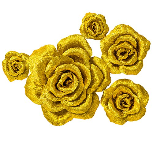 5 Large Crepe Paper Flowers,Handcrafted Flowers,Nursery Wall,Metallic Gold Rose Flower,for Wedding Backdrop, Gold Bachelorette,Baby Shower,Photo Backdrop,Gatsby Nursery,Archway Decor ()