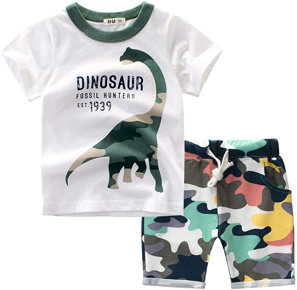 Baby Toddler Boys Summer Clothes Kids Cartoon Dinosaur T Shirt Tops Camo Shorts Outfits Set for 1-7 Years Old