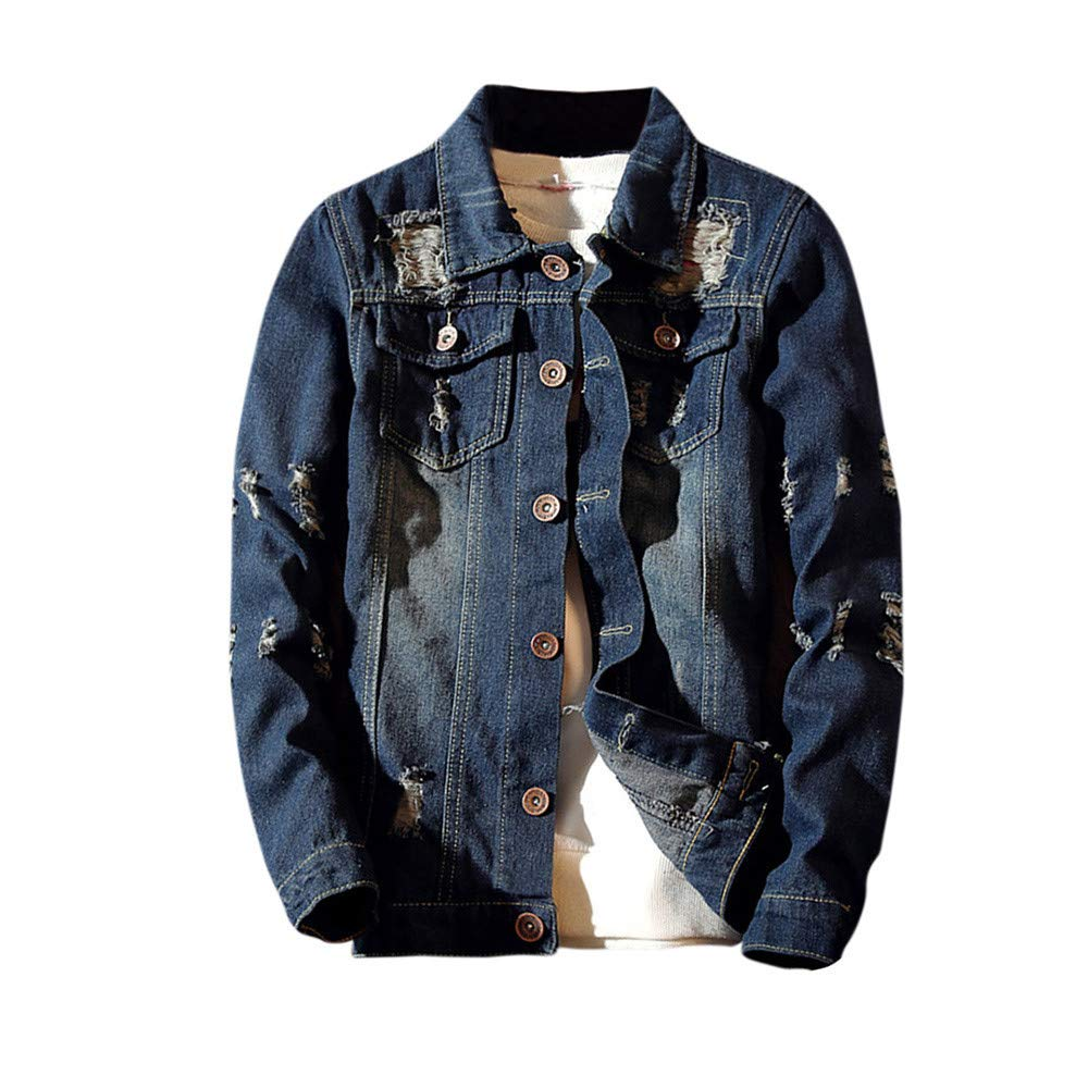 Men's Autumn Winter Casual Vintage Distressed Ripped Denim Jacket Button Down Big & Tall Trucker Jean Coat Top Blouse by F_Gotal Mens blazer
