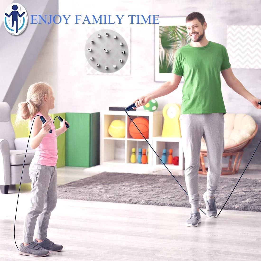 Aenamer Corde /à Sauter Fitness Paquet de 2 Exercices de Corde pour Adulte Enfants 3 M/ètres R/églable Speed Rope avec Professionnelle Pond/ér/ée Sport Jump Rope pour Fitness Boxe Crossfit Gym