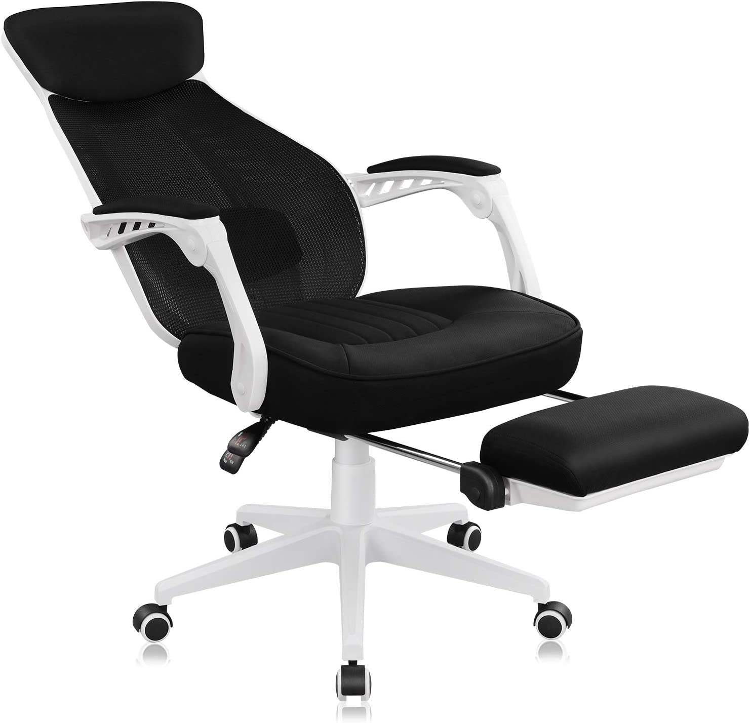 DEVAISE Ergonomics Recliner Office Chair, High Back Mesh Computer Desk Chair with Adjustable Lumbar and Footrest Support,White